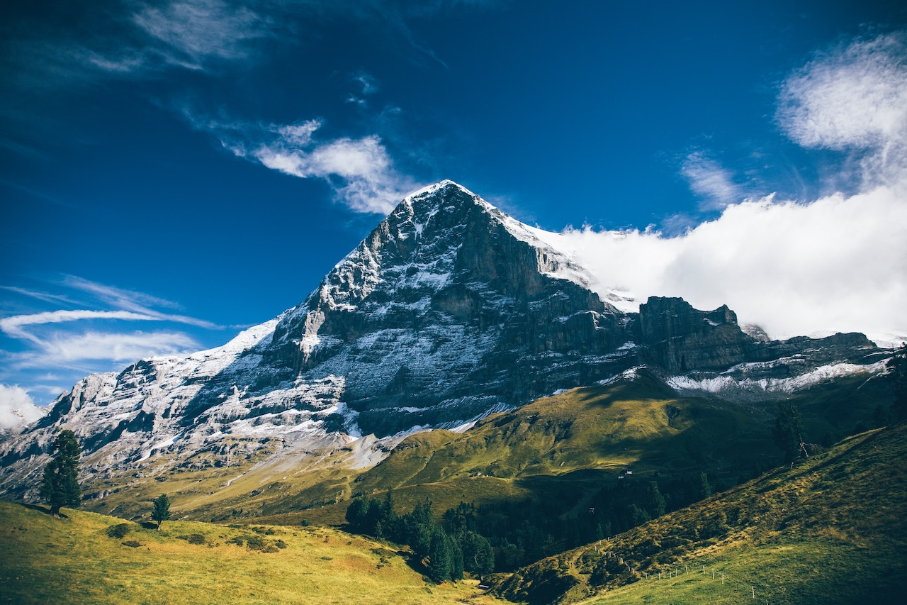 Landscape view of the Eiger Swiss Alps during the day