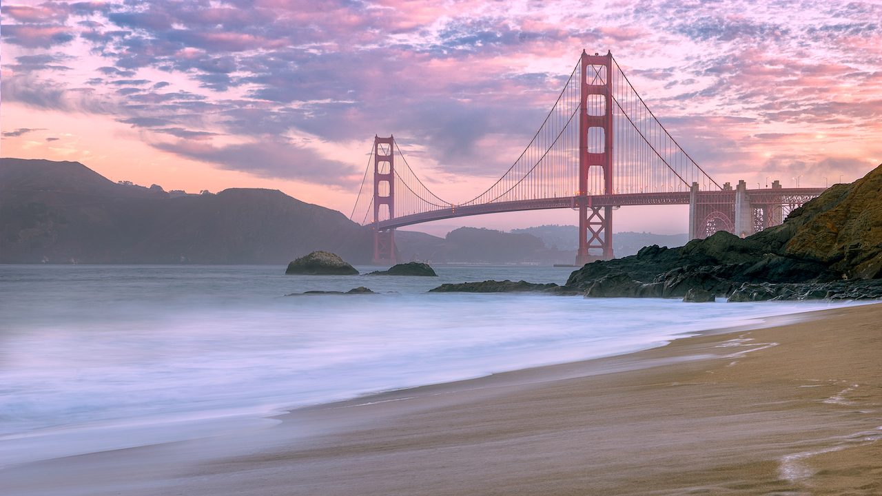 Baker Beach near the Golden Gate during the sunset