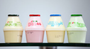 Assorted-flavor yogurt milk drinks.