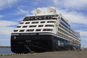 A moored ship with a label that says Azamara Quest.