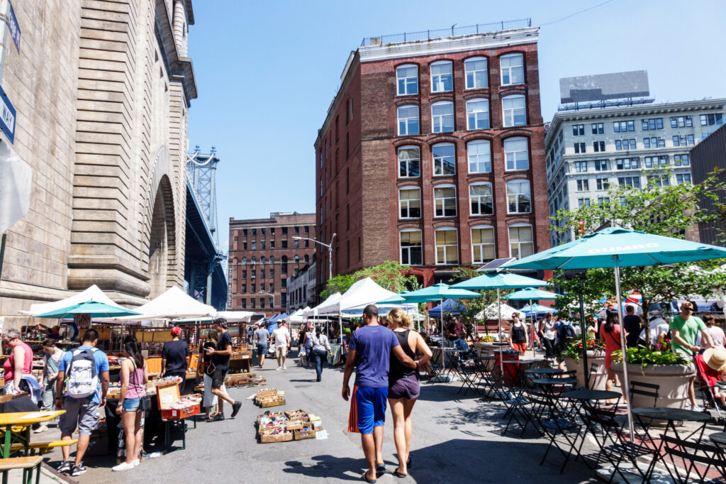 Vendors selling assorted products at Brooklyn Flea.