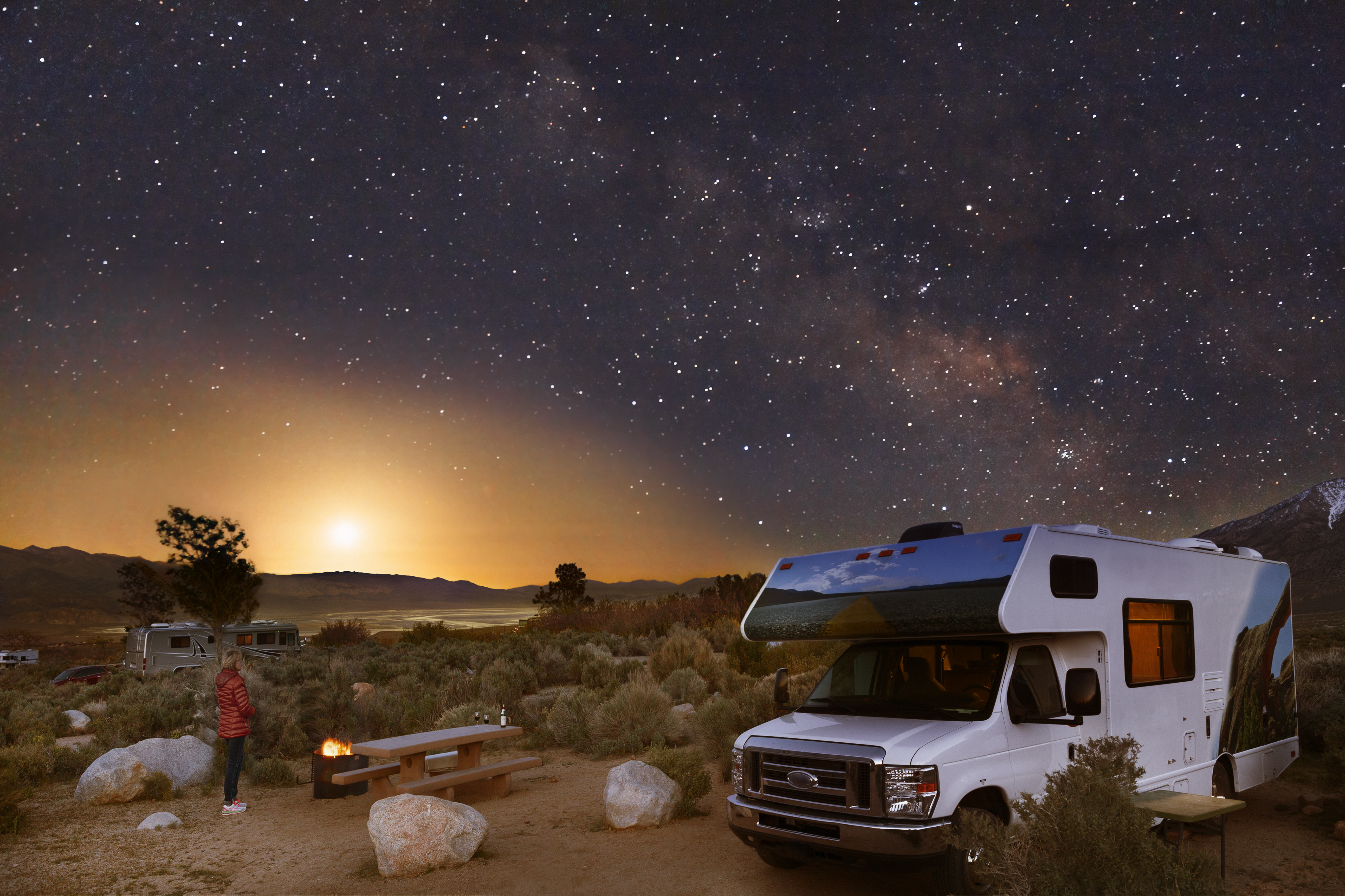 Camping in a national park with Cruise America RV during the night while stargazing