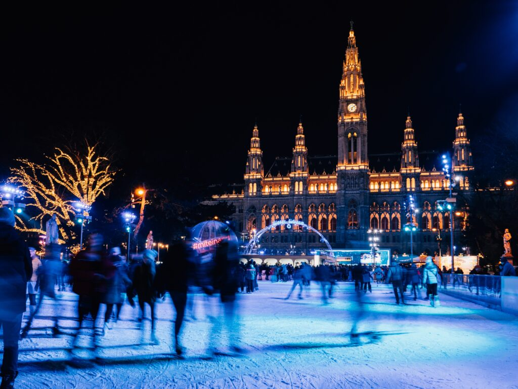 Ice skating rink outside Vienna City Hall.