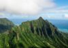Green mountains overlooking the sea in the Jurassic Park Hawaii.