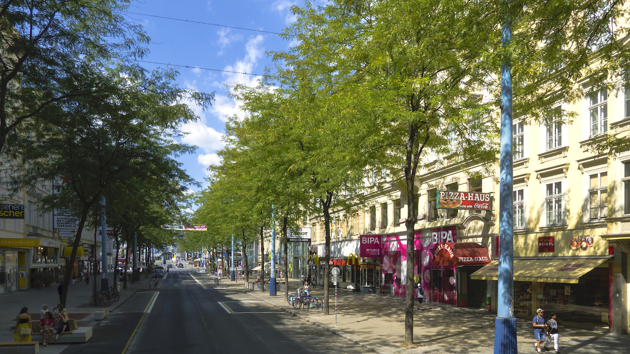 Outdoor shopping district in Mariahilfer Strasse, Vienna