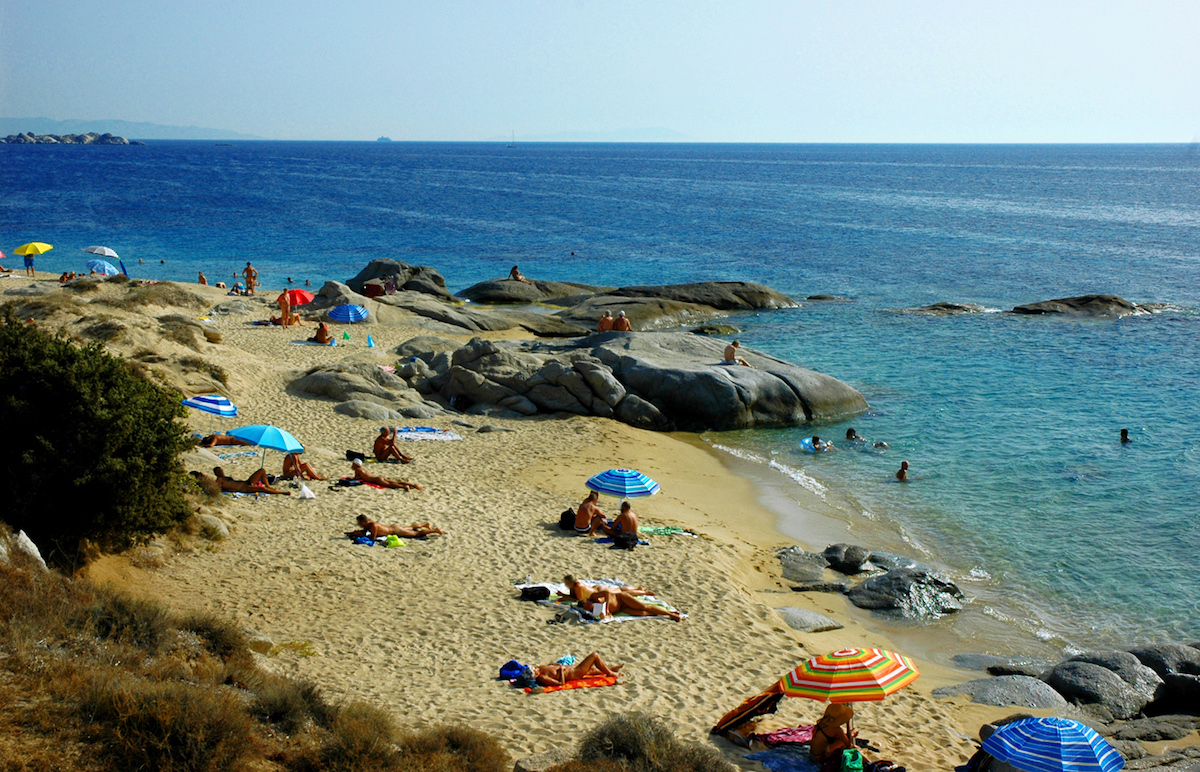Nudist beach in Naxos island Greece