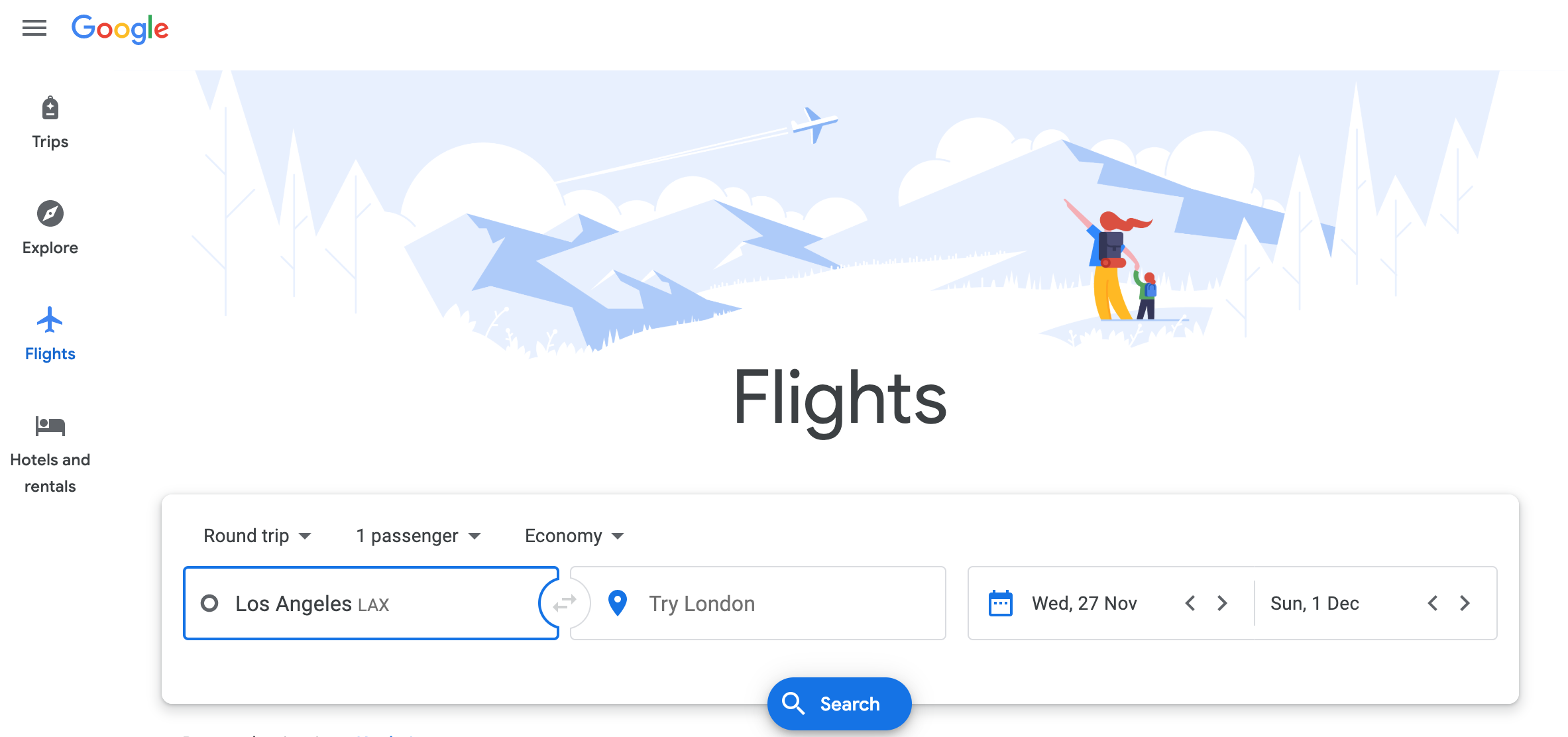Google flight comparison