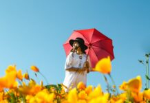 A girl in white dress holding a red umbrella in the field of yellow flowers