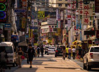 A busy street in Seoul