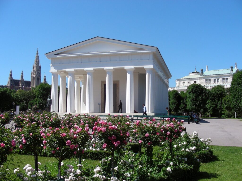 Rose garden in front of the Theseus temple in Vienna.