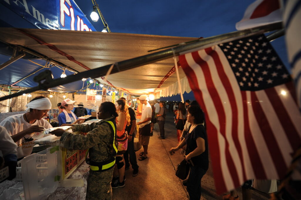 US Flag hanging in a night market