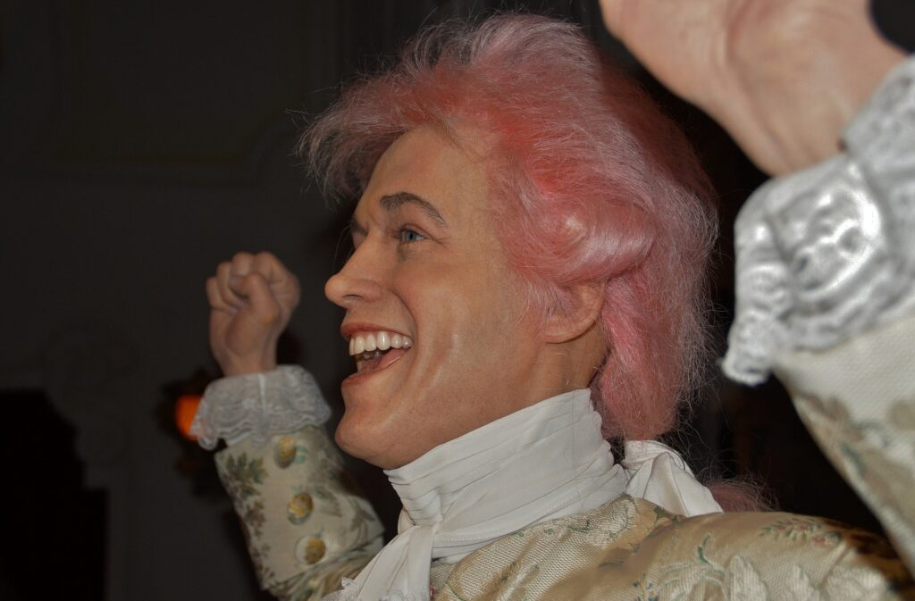 A wax figure of Mozart.