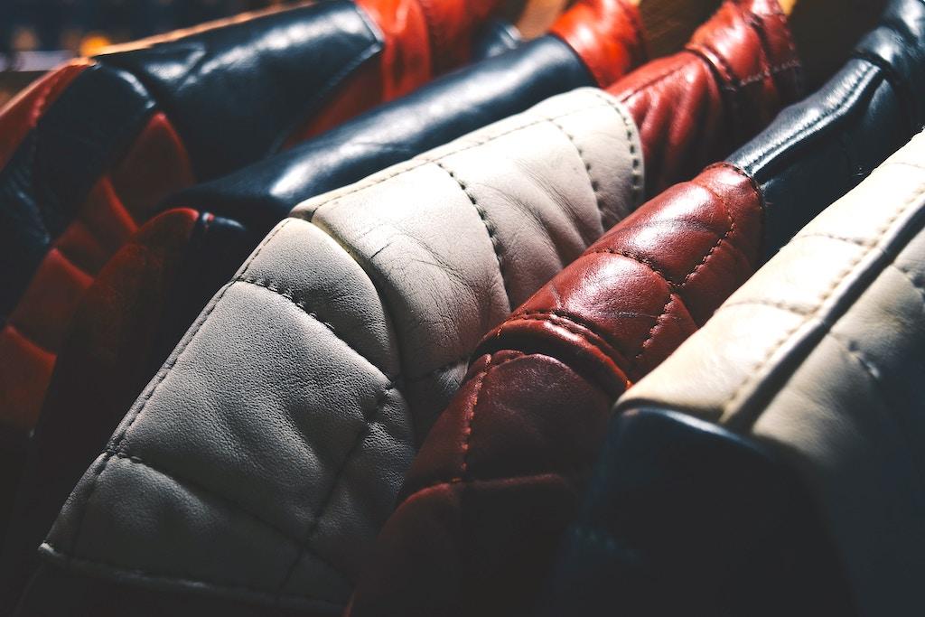 Leather jacket on sale in a flea market