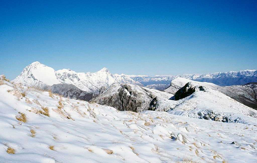 Snow capped mountain in Apuan Alps Park during winter
