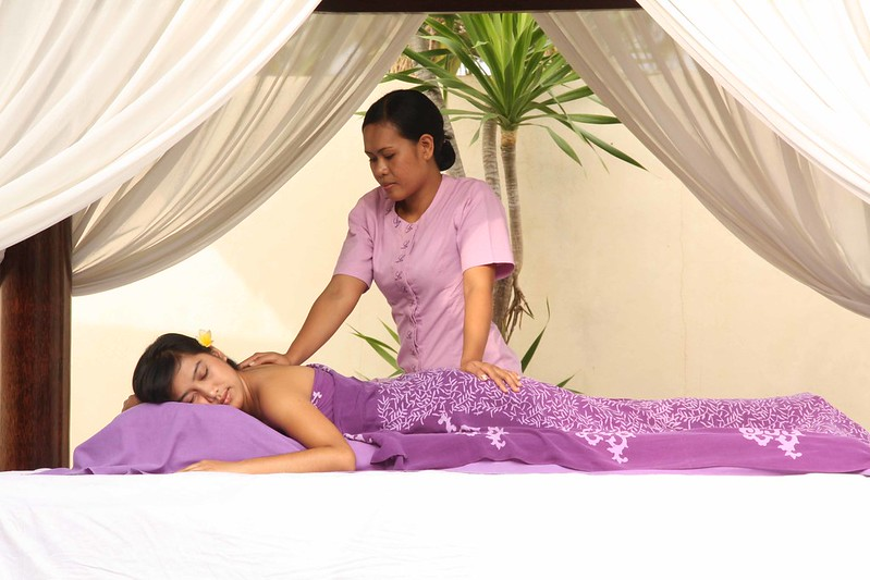 A girl getting a massage.