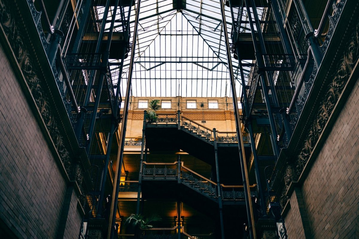 Gothic interior design of the Bradbury Building in LA