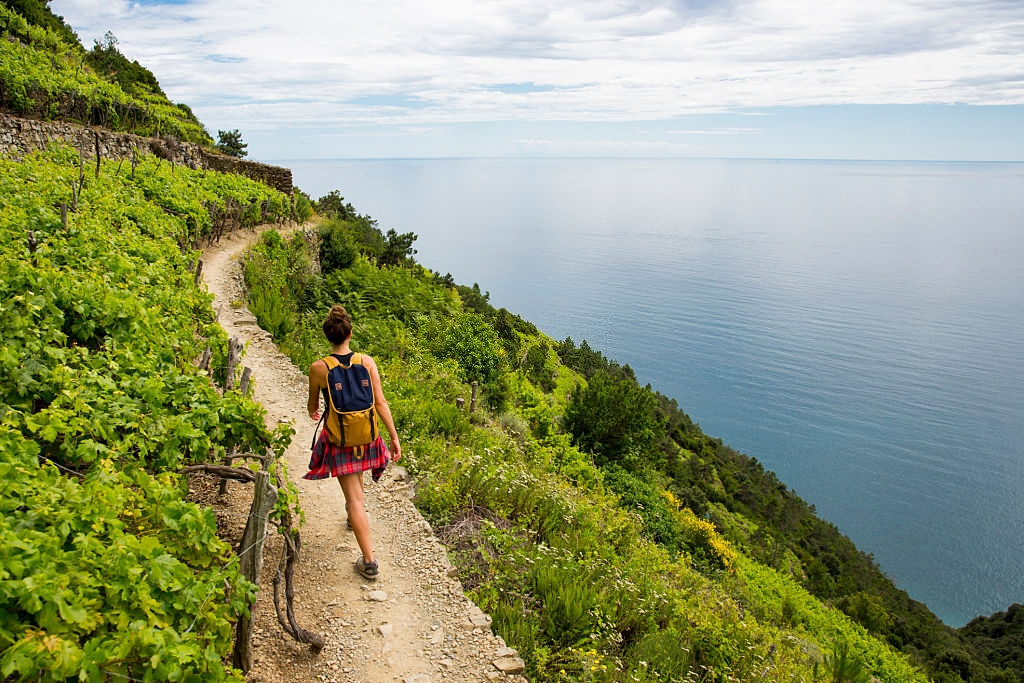 Hiking the vineyard in Cinque Terre Italy