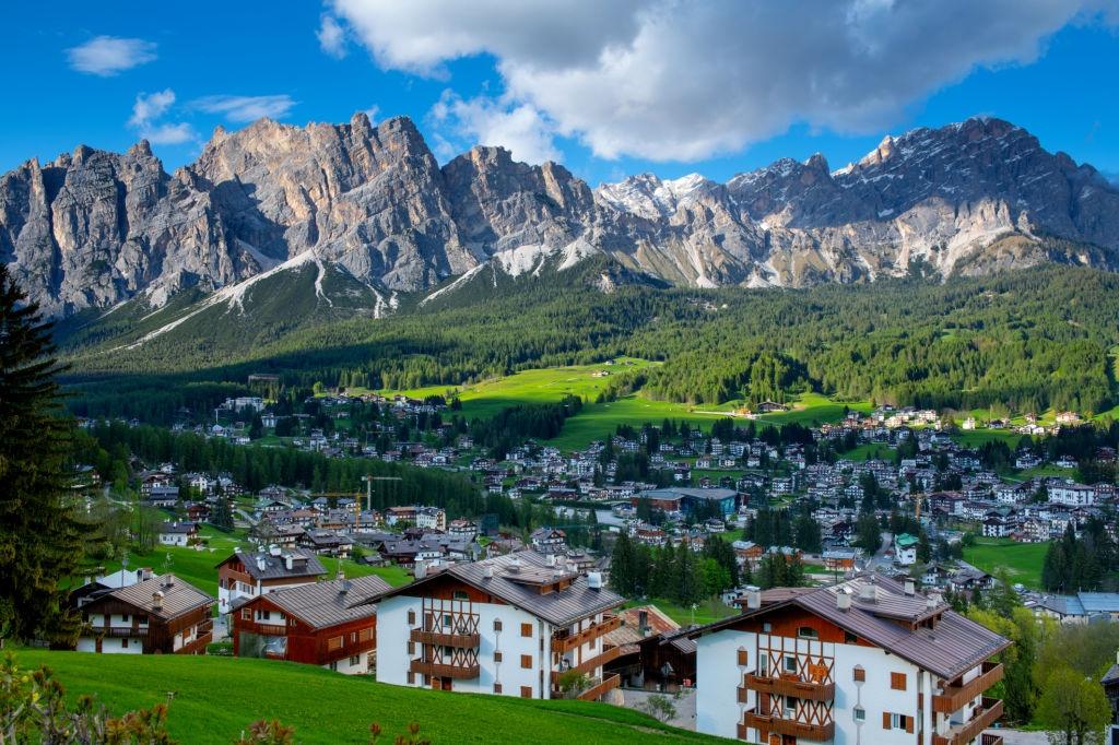A village near Cortina d'Ampezzo Alps in Italy