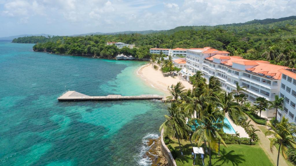 Aerial view of the Couples Tower Isle in Ochos Rios Jamaica.