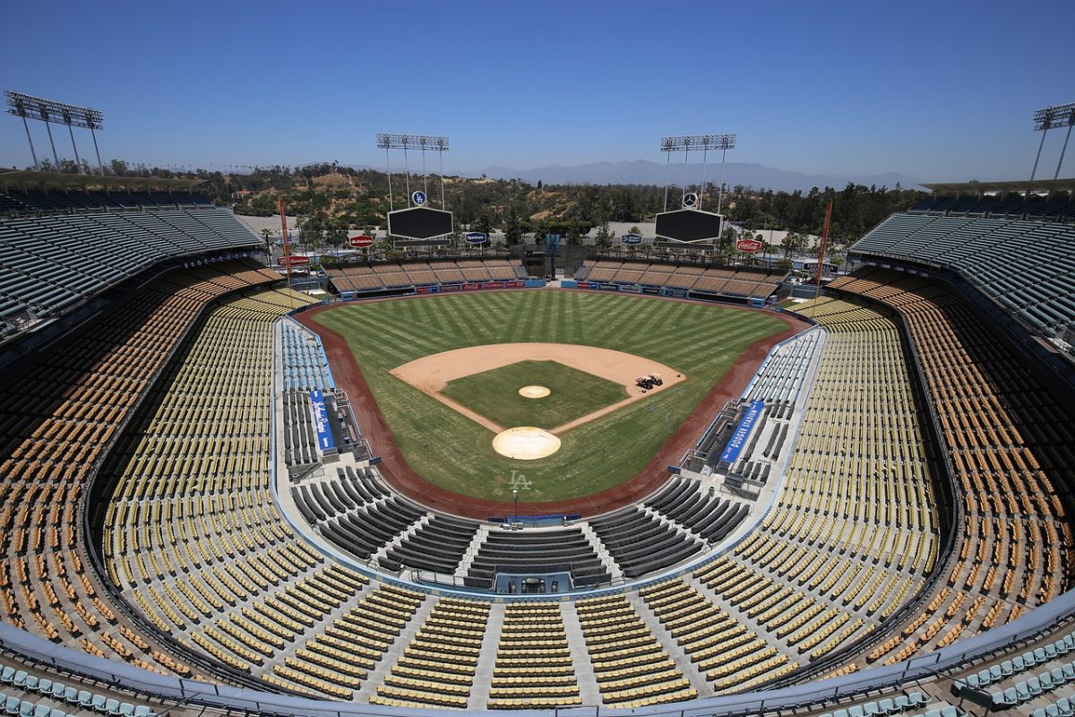 Empty field in Dodgers Stadium in LA