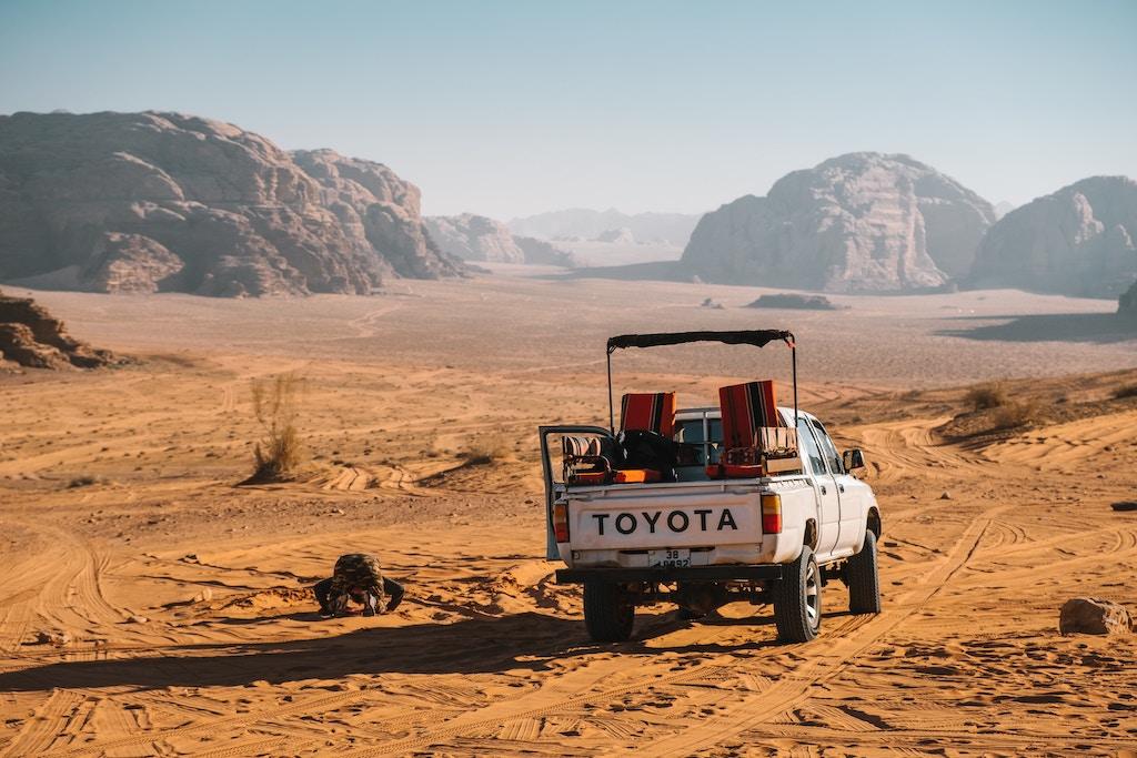 A Toyota Jeep parking in Wadi Rum desert