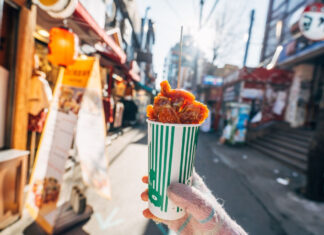 Korean fried chicken street food in a cup