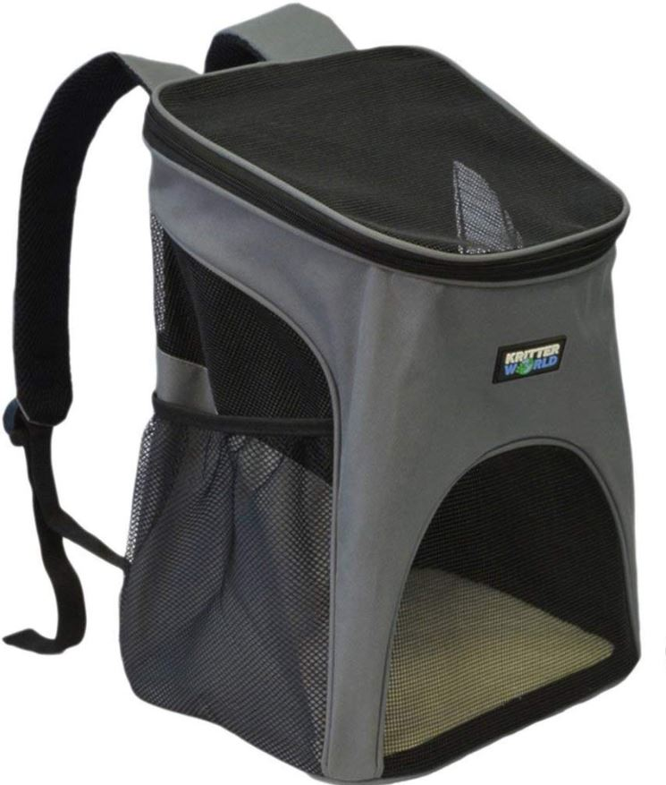 A gray dog backpack with a logo that says KritterWorld.