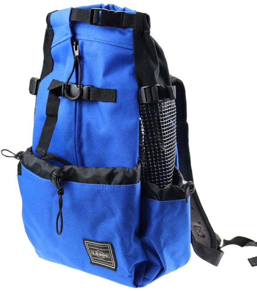A blue pet backpack with a drawstring pouch in front.
