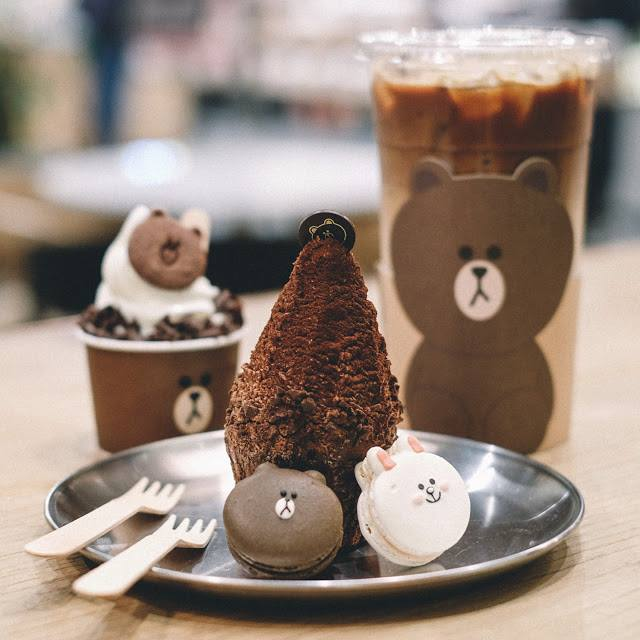 A mix of sweet drinks and cakes inspired by Line Friends characters.