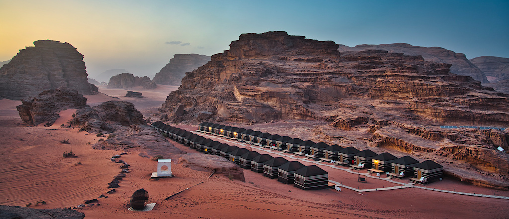 Wadi Rum campsite during the sunset time