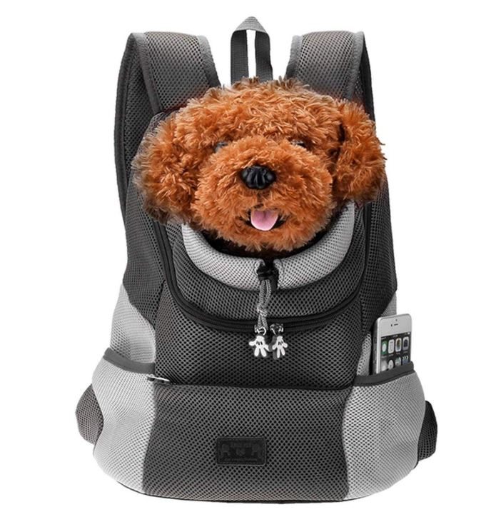 A back and gray colored backpack with a brown dog inside sticking its head out.