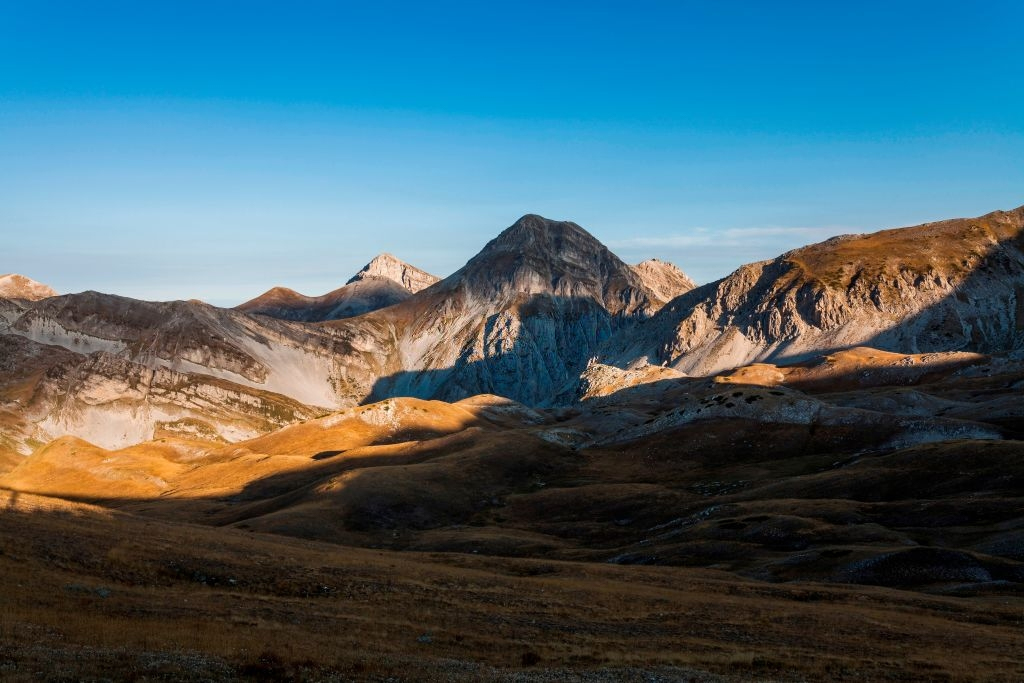 Panoramic view of National Park of Abruzzo aka the most stunning mountain in Italy