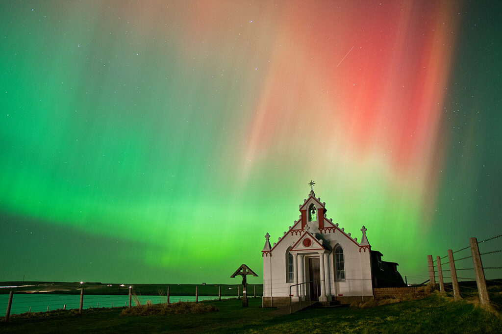 A church under the northern lights.