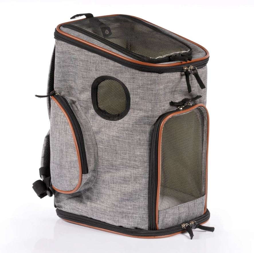 A gray dog carrier backpack