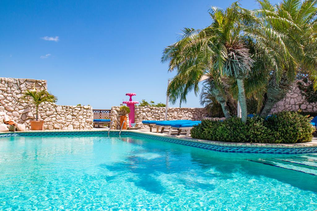 Outdoor pool in a villa of the natural Curacao Caribbean