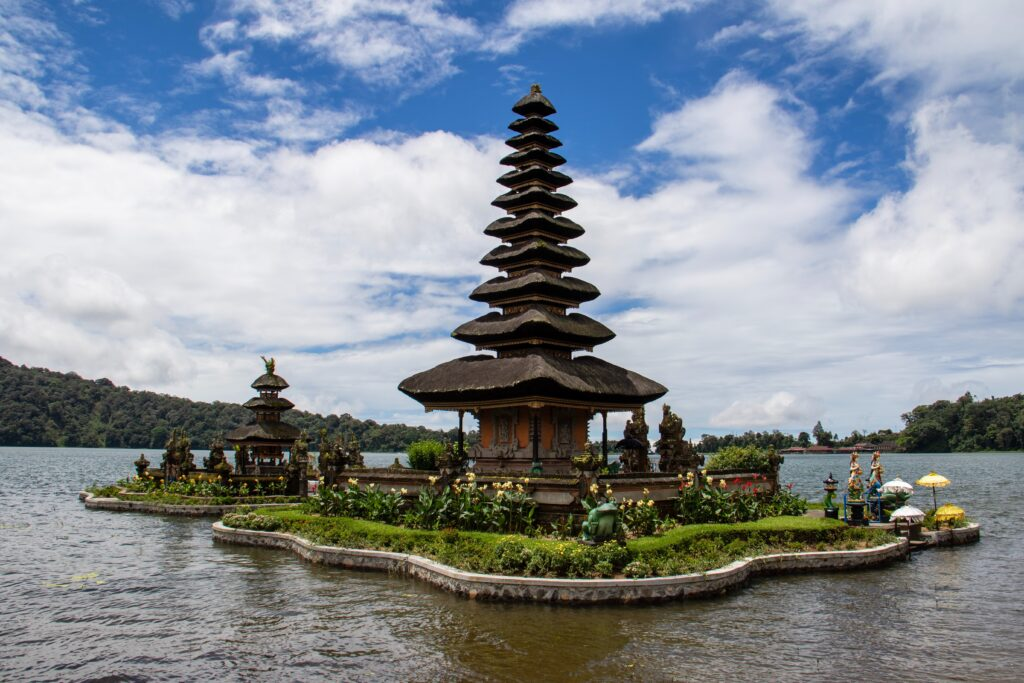 A pagoda in the middle of a lake