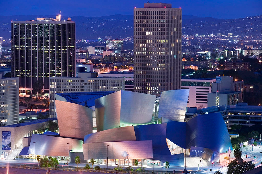 Illuminated Walt Disney Concert Hall during the night