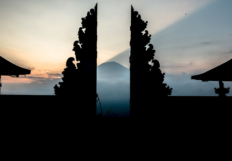 Temple of Agung and the Mount Agung peak behind.