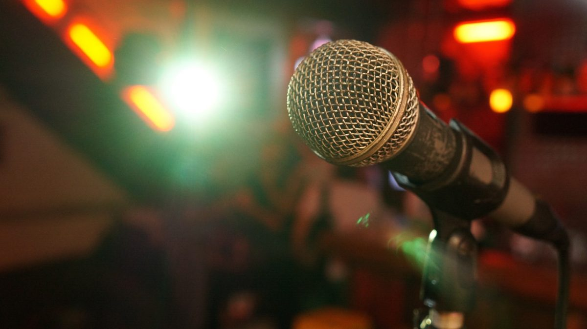 Mic on the stage during a comedy show