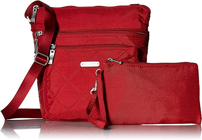 Bright red Baggallini quilted pocket crossbody bag with complemented mini clutch.