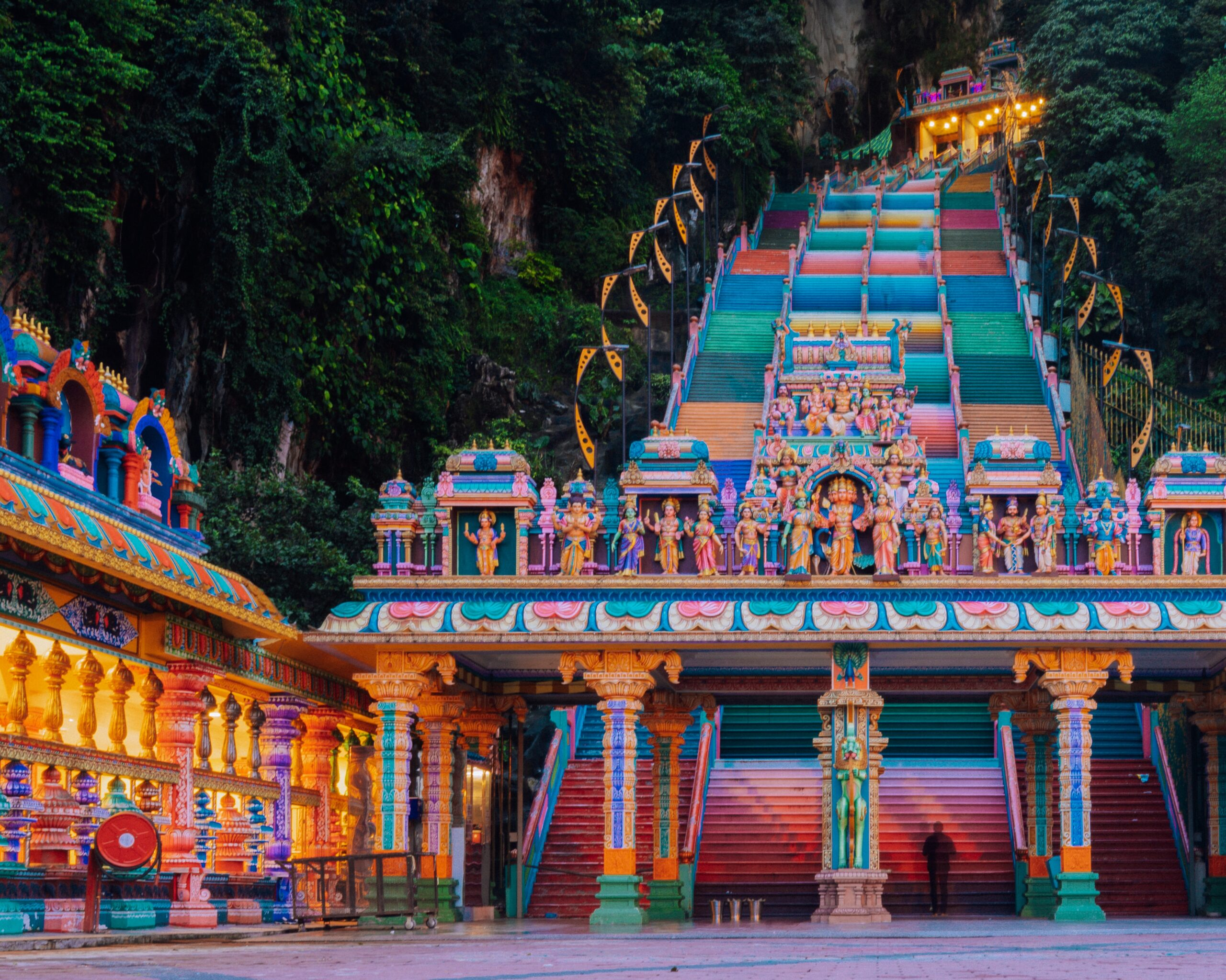 Rainbow staircases of the Batu Caves in the evening.