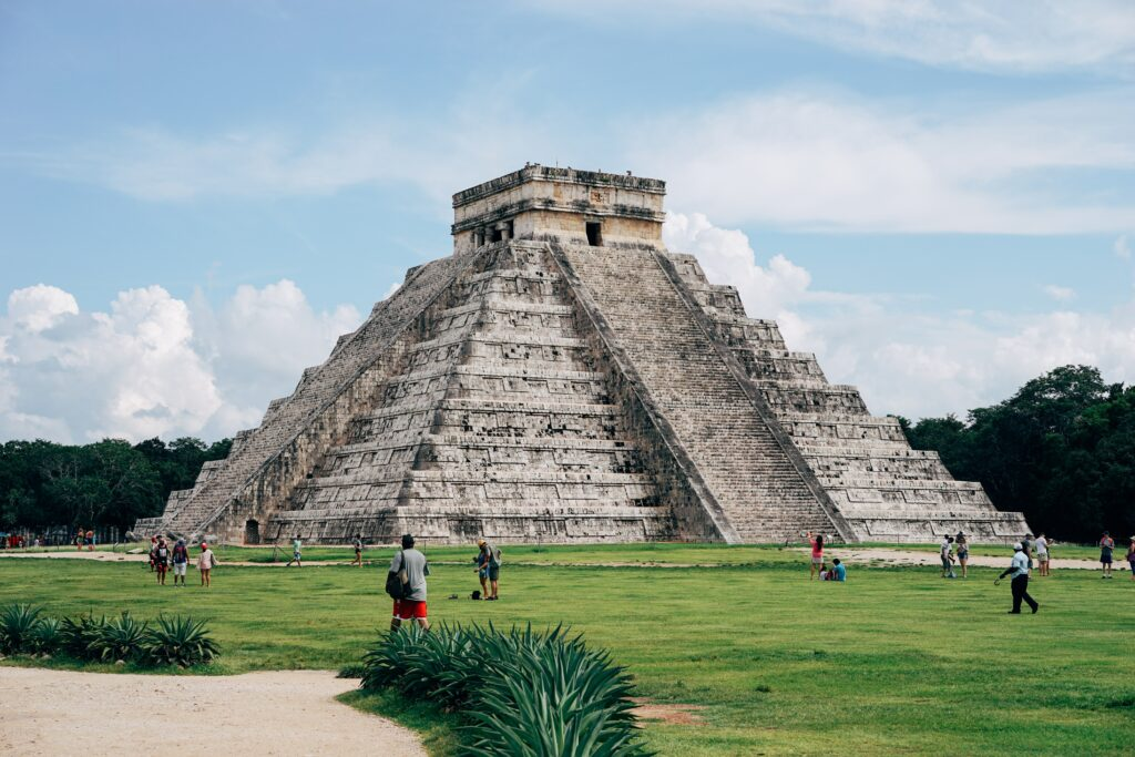 Kukulkan's Pyramid, a square-based, step-pyramid in Chichen Itza.