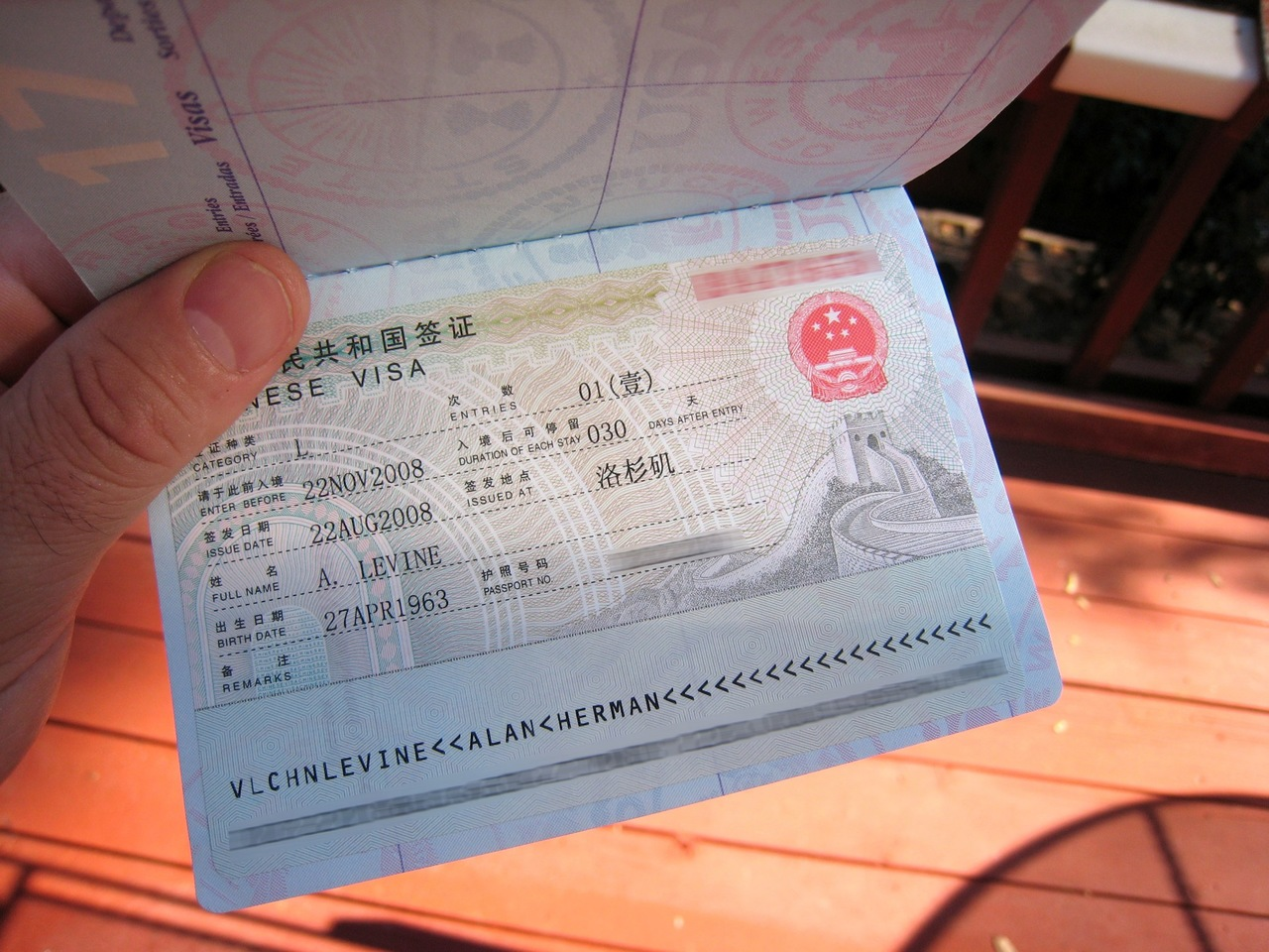 A passport pasted with valid china visa