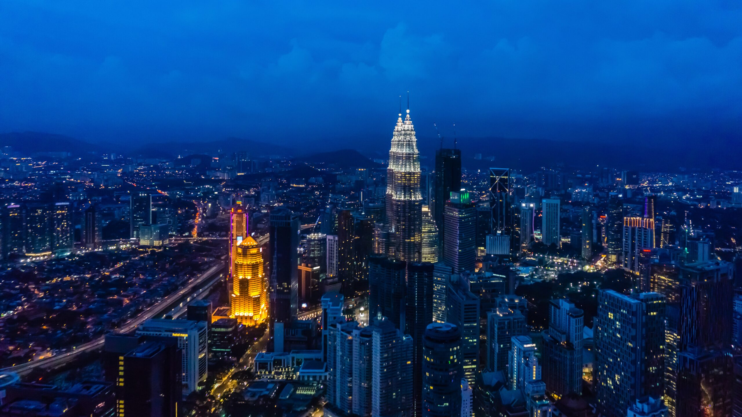 Aerial view of KLCC tower during the night.