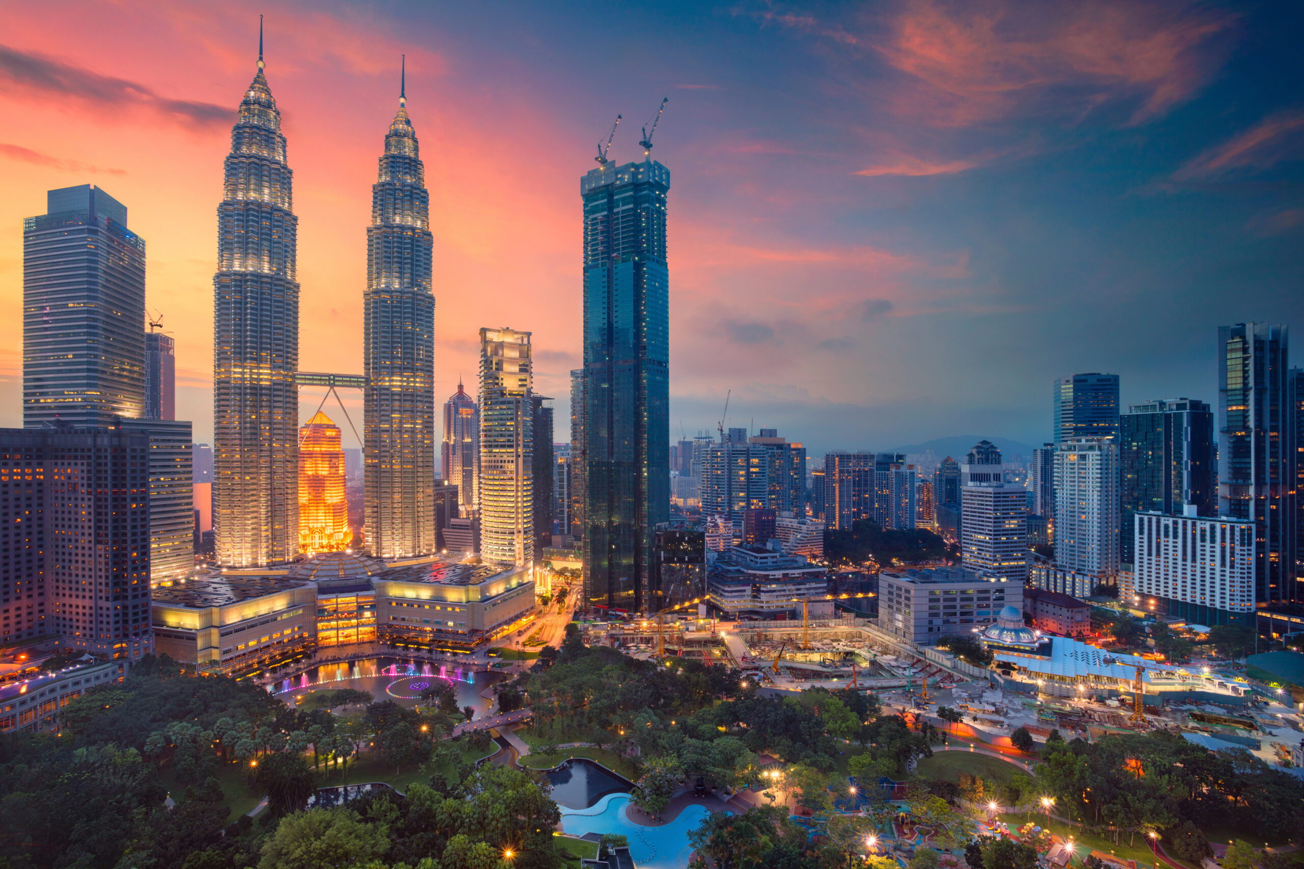 Kuala Lumpur city skyline during the sunset