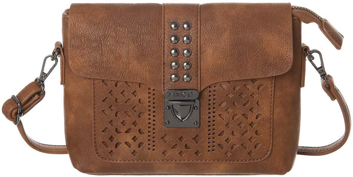 Brown coloured minicat women RFID crossbody bag