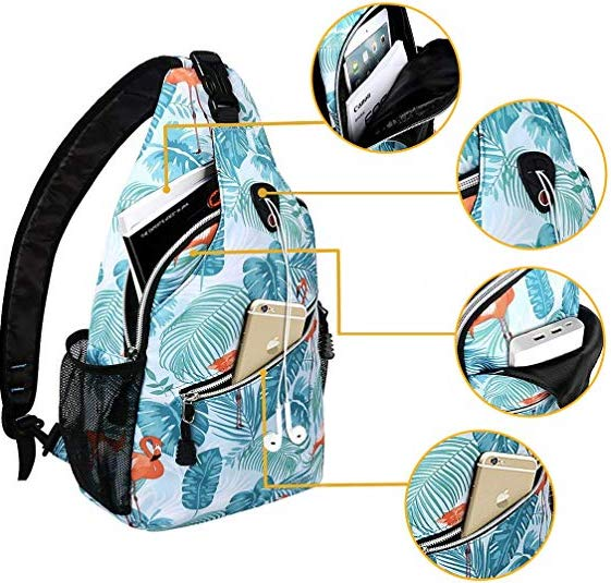 Tropical pattern of Mosiso Sling Backpack
