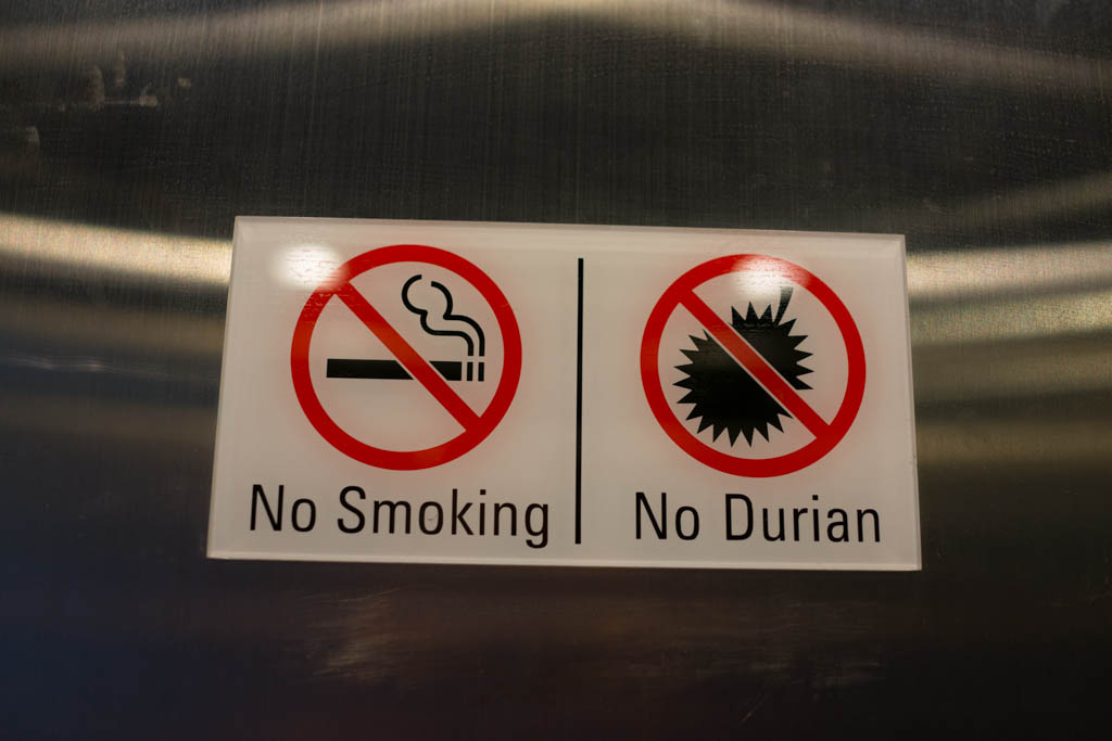 No smoking and no Durian sign in a hotel.