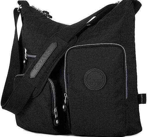 black color nylon multi pocket crossbody bag