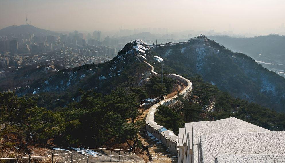 Part of Seoul City Wall in Inwangsan Mountain.